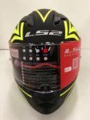 LS2 Stream Evo motorbike helmet in black/yellow - size M (57-58cm)