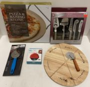 5 x assorted items - Premier pizza and baking stone, pizza cutters, essential knives etc - RRP £2.
