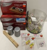 Assorted items - Sushi sets for two, dusting pots, cake toppers, wooden skewers etc - RRP £2.
