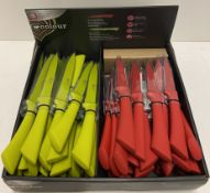 34 x assorted Richardson Sheffield Colour serrated or purpose and paring knives - RRP £8.