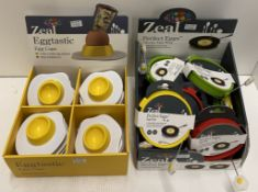 38 x assorted Zeal Eggtastic egg cups and Perfect Eggs silicone egg rings - RRP £4.75-£8.