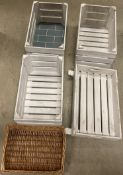 4 x assorted wooden crates/display trays and a wicker tray