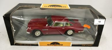 Chrono 1/18 scale die cast metal model of Aston Martin DB5 1963 peony red (boxed)