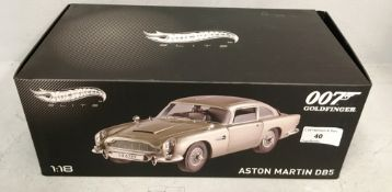 Hotwheels 007 Goldfinger 1/18 scale die cast metal model of Aston Martin DB5 (boxed)