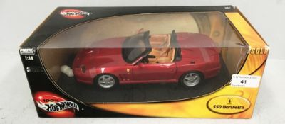 Hotwheels metal collection 1/18 scale die cast metal model of Ferrari 550 Barchetta (boxed)