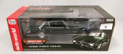Auto World 1/18 scale die cast metal model of 1973 Pontiac Firebird Trans AM (boxed)