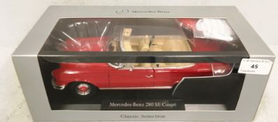 Mercedes-Benz Classic Selection 1/18 scale die cast metal model of Mercedes-Benz 280 SE Coupe