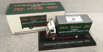 1/76 scale die cast model of Eddie Stobart Ford Cargo curtainside lorry 'Leslie' F210 (boxed)