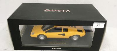 Kryosho Ousia 1/18 scale die cast metal model of Lamborghini Countach LP400 in yellow (boxed)
