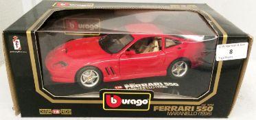 Burago 1/18 scale die cast metal model of Ferrari 550 Maranello (1996) (boxed)