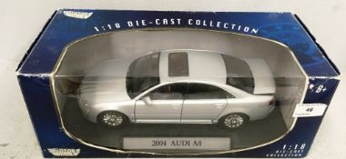 Motor Max 1/18 scale die cast metal model of 2004 Audi A8 (boxed)