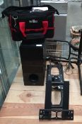 LG 533A1-D active subwoofer, TV wall bracket, music stand, large quantity of audio cables,