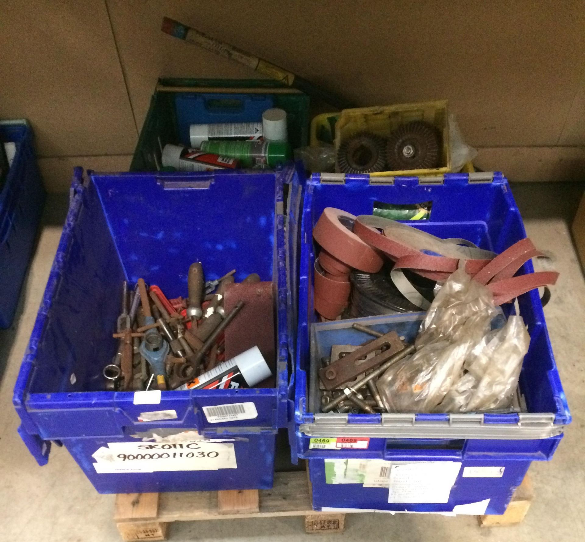 Lot 261 - Contents to four boxes - large sockets, spanners, chisels, sanding paper for belt sanders,