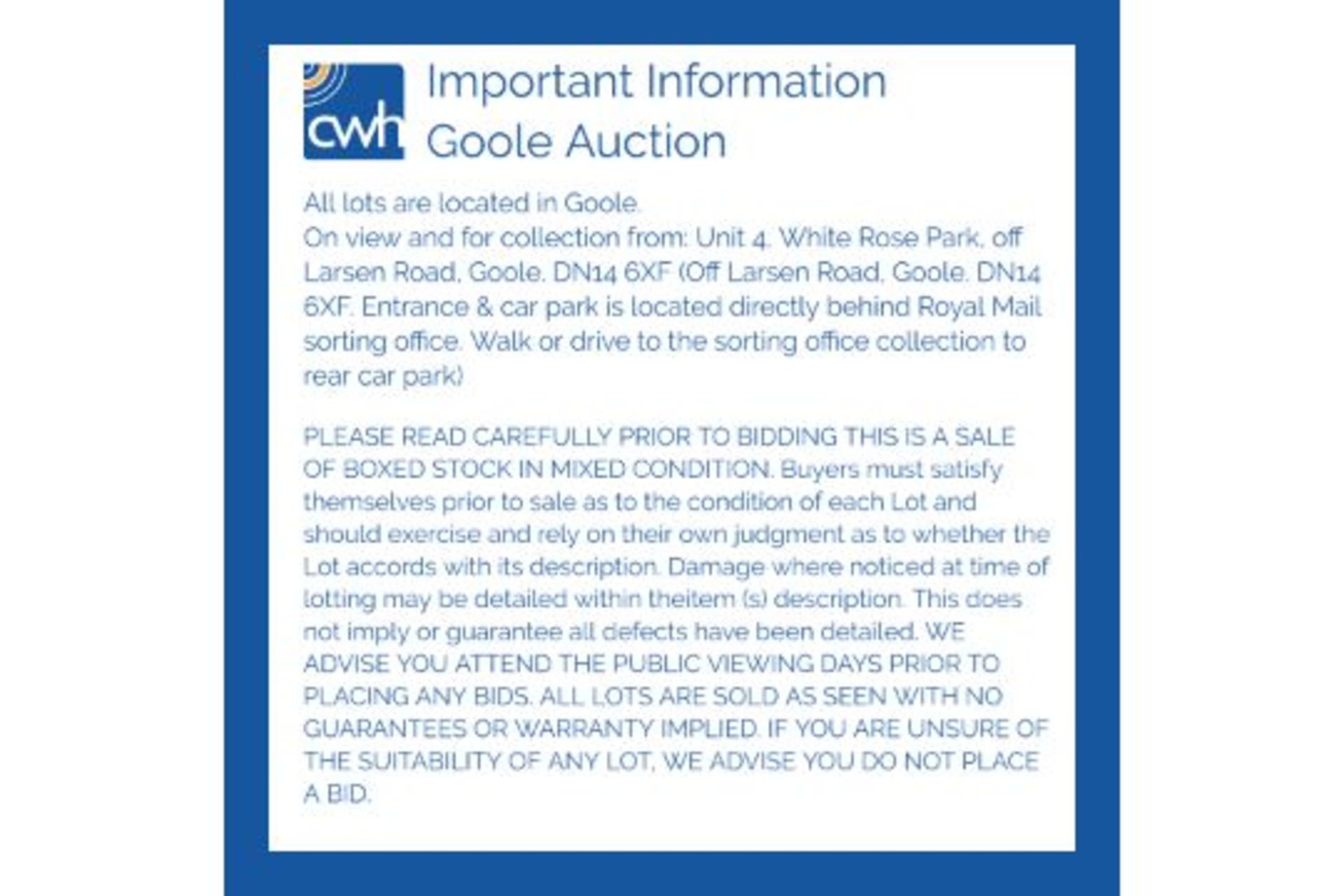 Lot 1 - PLEASE READ CAREFULLY PRIOR TO BIDDING.