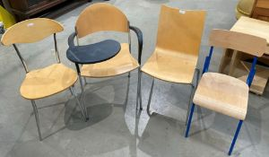 4 x designer metal framed wooden chairs
