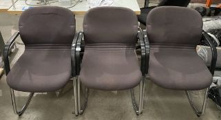 3 x cloth upholstered chromed framed office armchairs