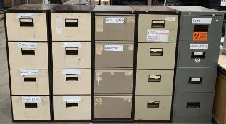 5 x assorted metal 4 drawer filing cabinets and contents
