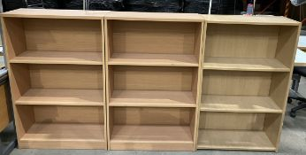 3 x 3 shelf oak effect bookcases