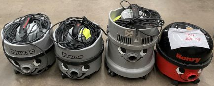 4 x assorted Nuvac commercials vacuum cleaners (3 x grey, 1 x red - marked DO NOT USE,