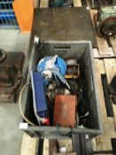 Contents to grey plastic box - block and tackle, Starrett inspection tool, tooling etc.
