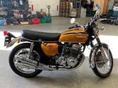 CLASSIC BIKE: HONDA CB 750 MOTORCYCLE - petrol - gold Reg No LFM 61N Rec Mil .