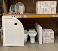 Mixed lot of bathroom items - Isvea designer bidet, white ceramic toilet pan,