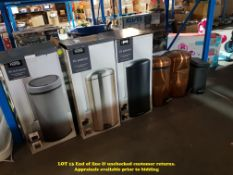6 ITEMS – MIXED BINS TO INC 30L PUSH TOP