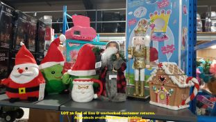 7 X MIXED CHRISTMAS ITEMS TO INC ANIMATED SPROUT, FABRIC SANTA TREE TOPPER,