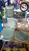 GH STONEWARE 2 TONE 11 PIECE DINNER SET