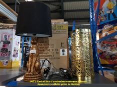 2 ITEMS – 1 X PLANET GOLD CHEETAH TABLE LAMP