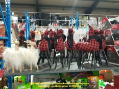 APPROX 15 X REINDEER TARTAN TABLE DECORATION & 2 X FLUFFY REINDEER TABLE DECORATION (RRP £8 EACH)