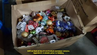 CONTENTS OF BOX – A LARGE QTY OF MIXED CHRISTMAS ITEMS TO INC TREE DECORATIONS, RIBBONS,