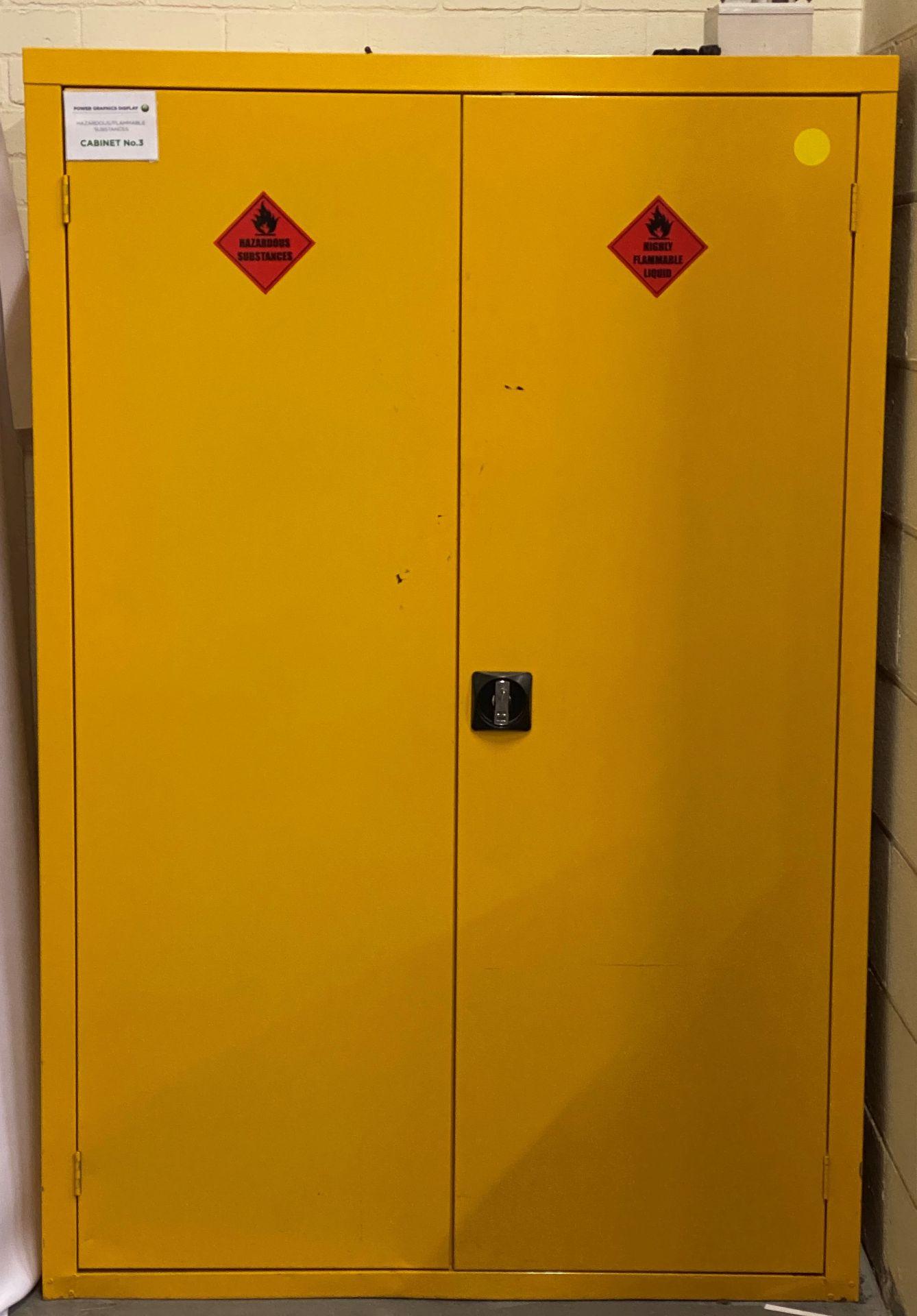 A 2 door yellow hazardous substances cabinet and contents - 180cm x 120cm