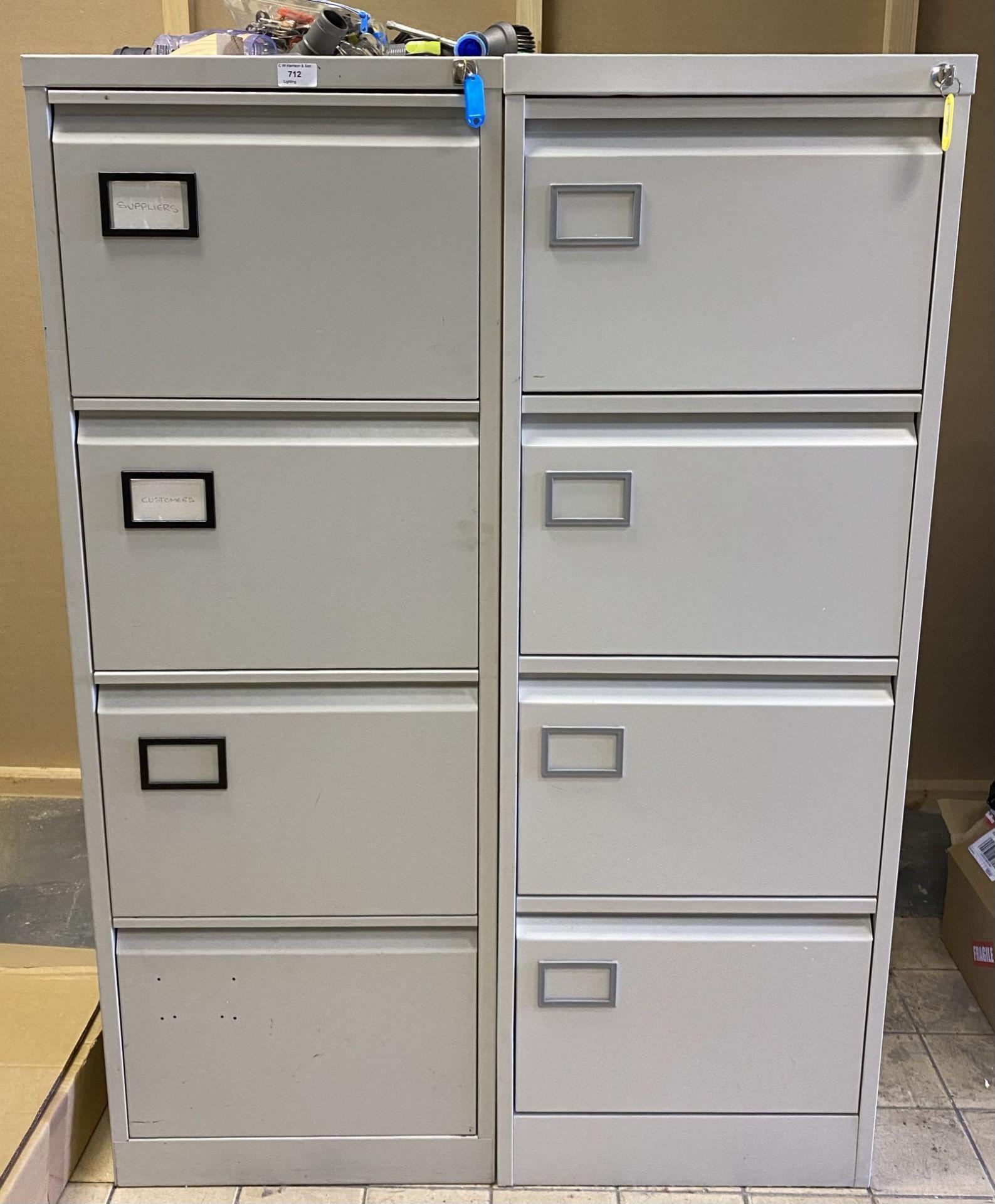 2 x 4 drawer, grey metal filing cabinets