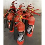 10 x assorted CO2 fire extinguishers
