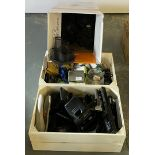 Contents to a box and 2 wooden crates -