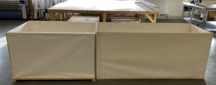 2 x large piece work bins