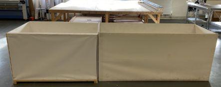 2 x large piece work bins