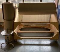 A 2 roll, corrugated cardboard dispenser