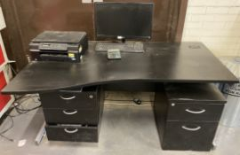 A wave front, black laminate desk, 2 ped