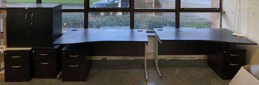 3 x wave front black laminate desks with