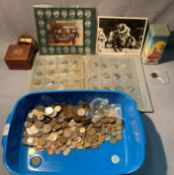 Contents to tray and album - a large quantity of GB and World coins including a number of early