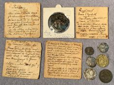 Contents to tin - nine various hammered and milled coins, James VI of Scotland, etc.
