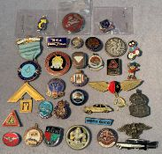 Contents to tub - thirty assorted badges
