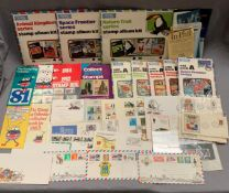 Contents to tray - a mixed lot relating to stamps including three Hornby stamp album kits,