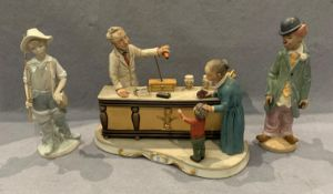 A continental porcelain chemist's shop scene (chemist and young boys arms with repairs),