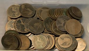 Contents to tub - 100 plus Victorian pennies and halfpennies