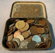 Contents to tin - assorted Canadian coins