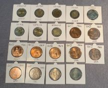 Contents to tub - nineteen coins, nine uncirculated Queen Elizabeth II pennies,