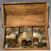 Contents to carved wooden box - assorted world coins